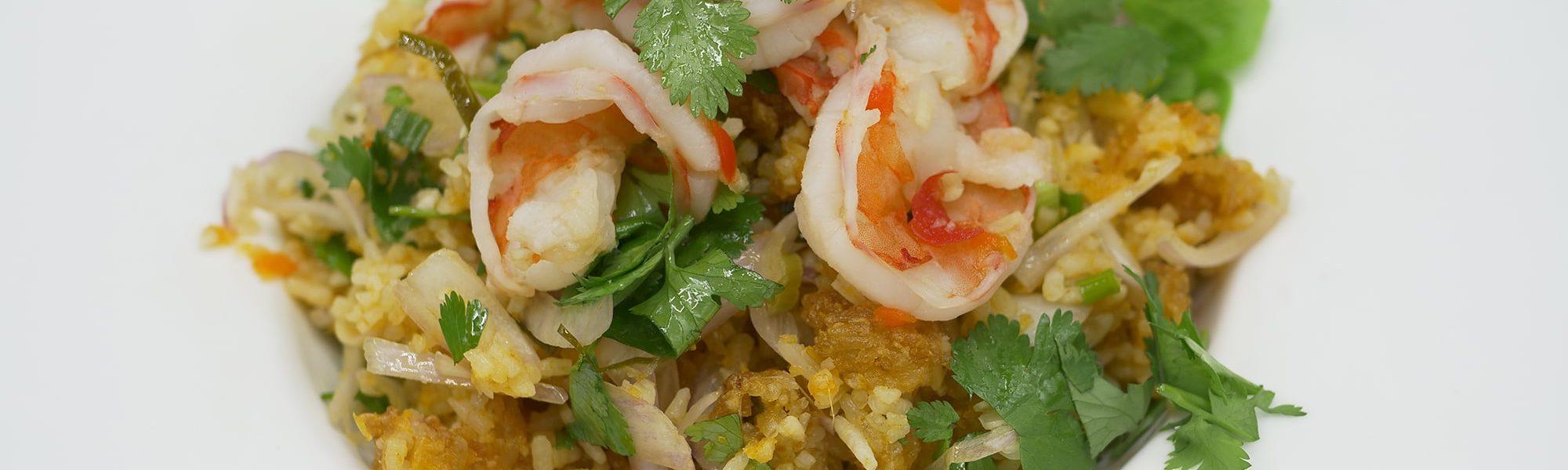 Cuisine Thailandaise | Salade riz gluant grillé crevettes | Restaurant Paris